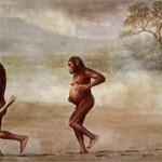 early man woman walking